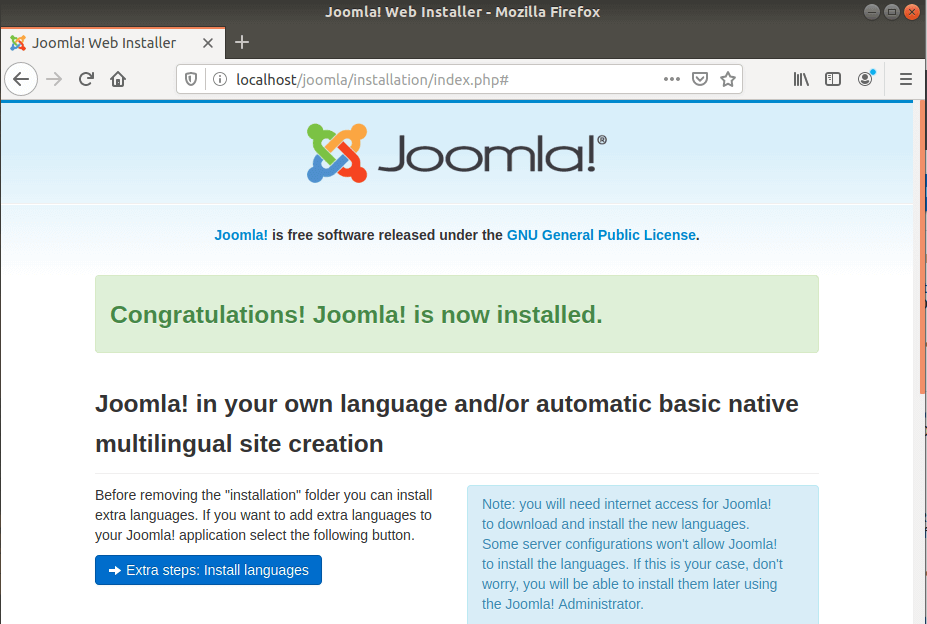 joomla installation completion