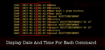 show commands with date & time in Linux history