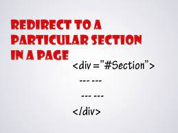 redirect to page section from anchor tag