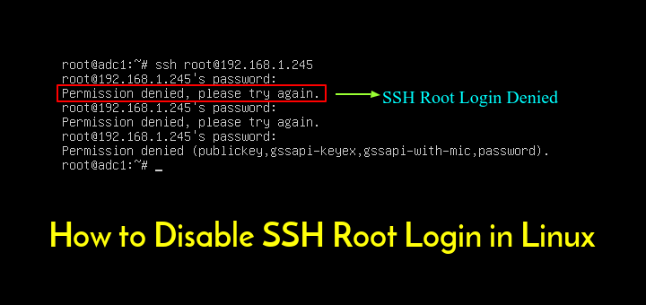 disable ssh root login in linux