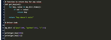 find key from value in dictionary in python