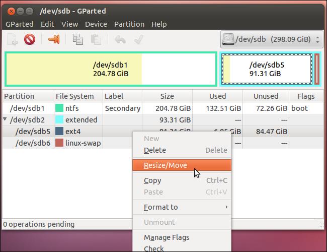 resize/move ubuntu partition