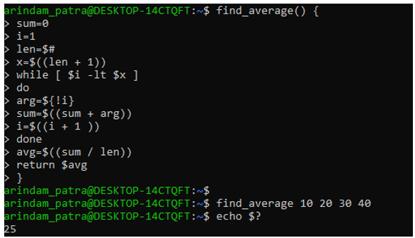return value from shell script function